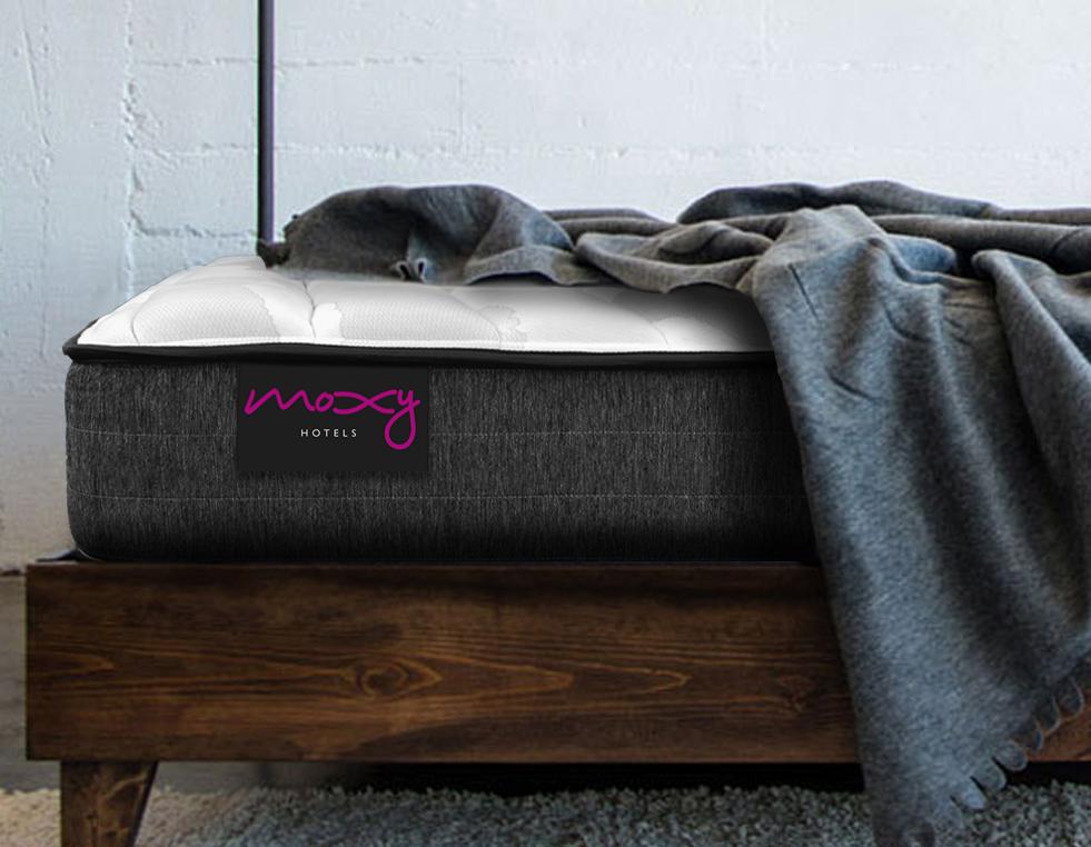 corner of moxy mattress in room