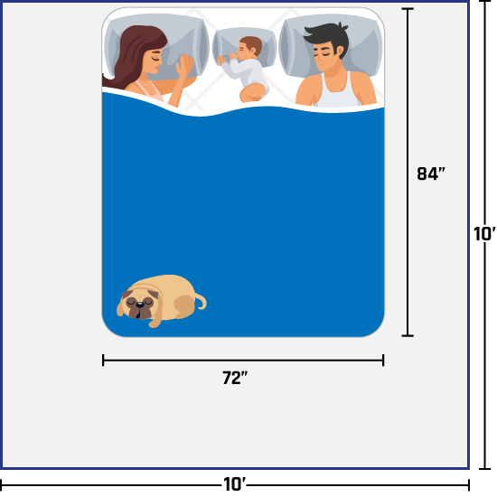 woman, man, baby, and dog on California king bed