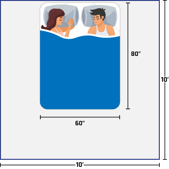 woman and man on queen bed