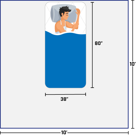 man on twin xl bed
